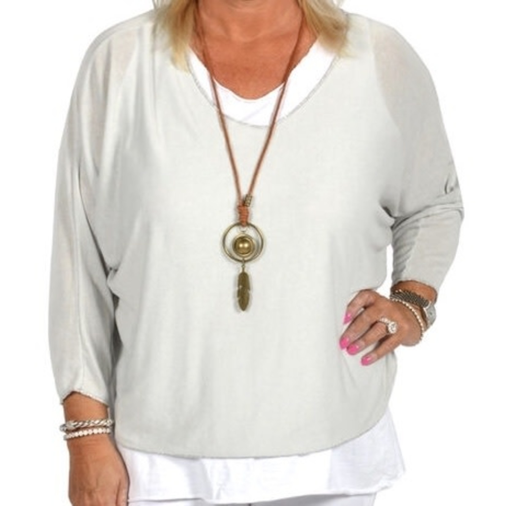Catherine Lillywhites 2 Pc Lt Grey and White Tunic w/ Necklace - OS