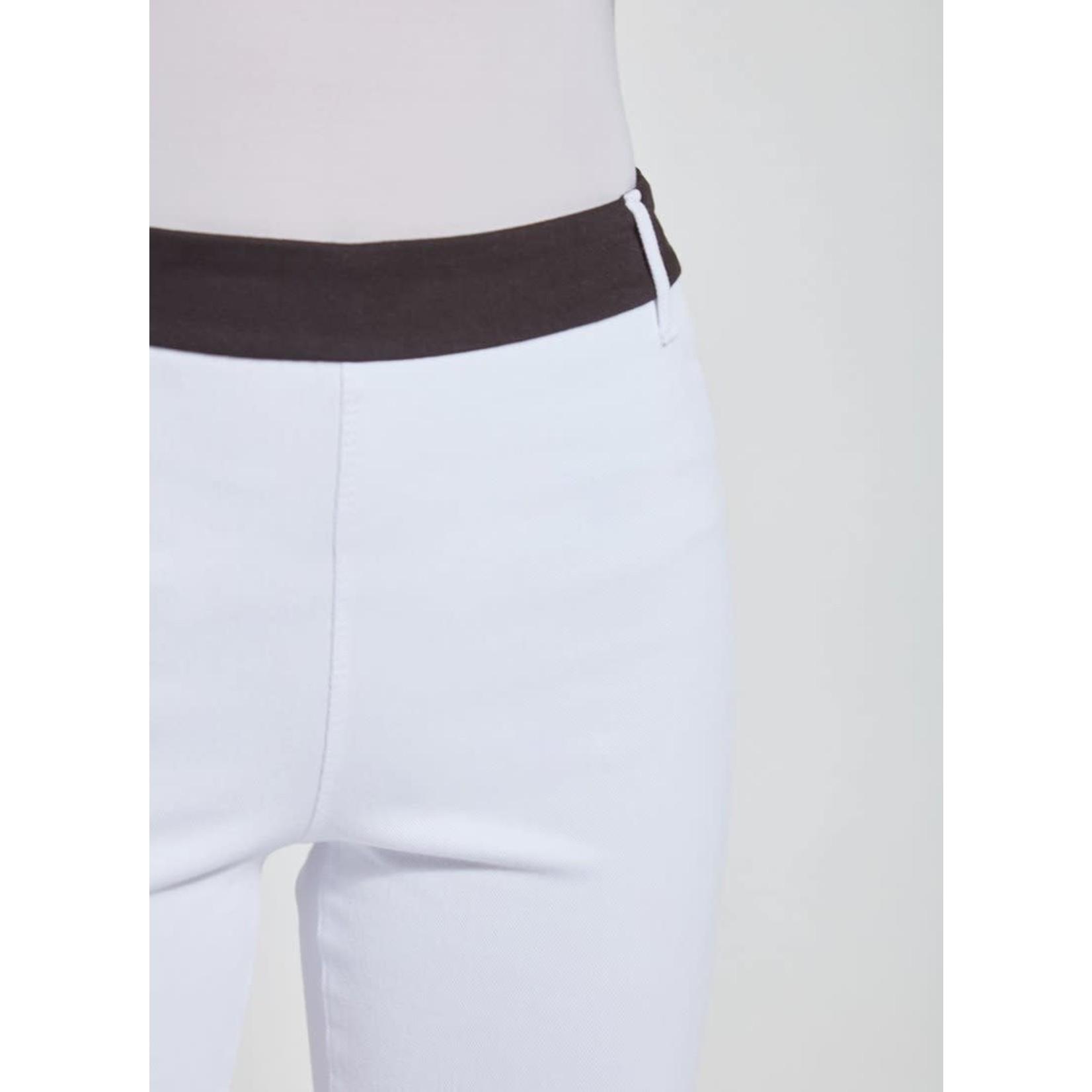 White Boyfriend Denim Crop Pants w/ Black Stripe