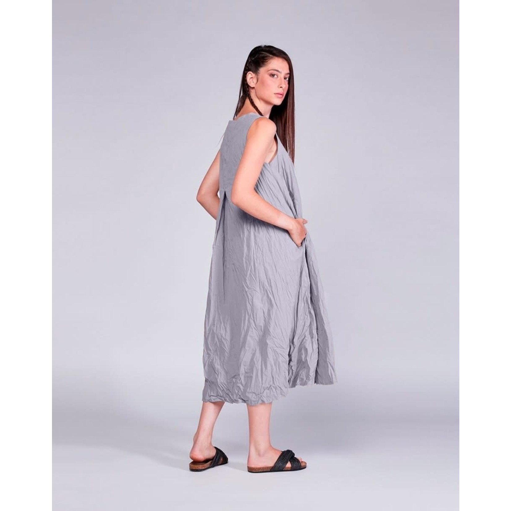 Baci Grey Cotton Crinkle Crewneck Tank Dress