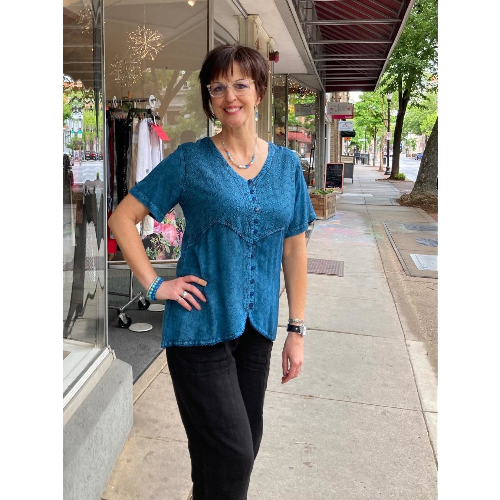 Parsley and Sage Petra Indigo Button up Top w/ Embroidered Design