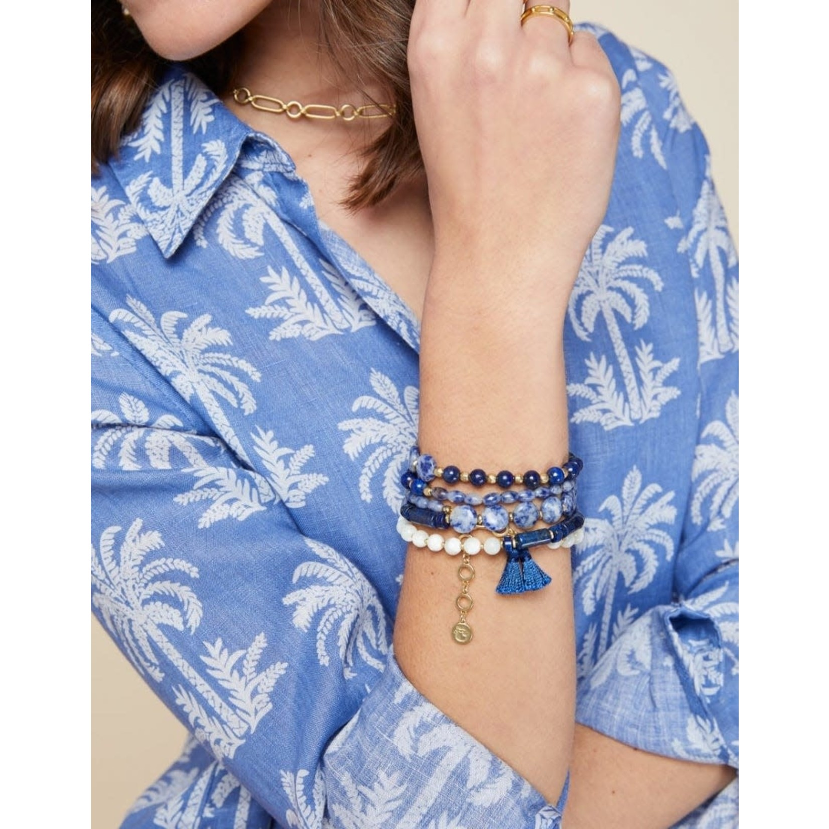 """Spartina Beaded Wrap 33.5"""" Lapis Oyster Alley Necklace"""