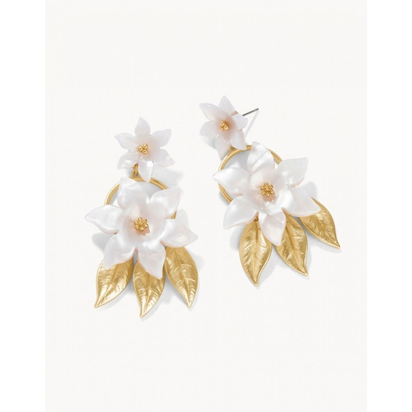 Spartina Old Field Flower Earrings White