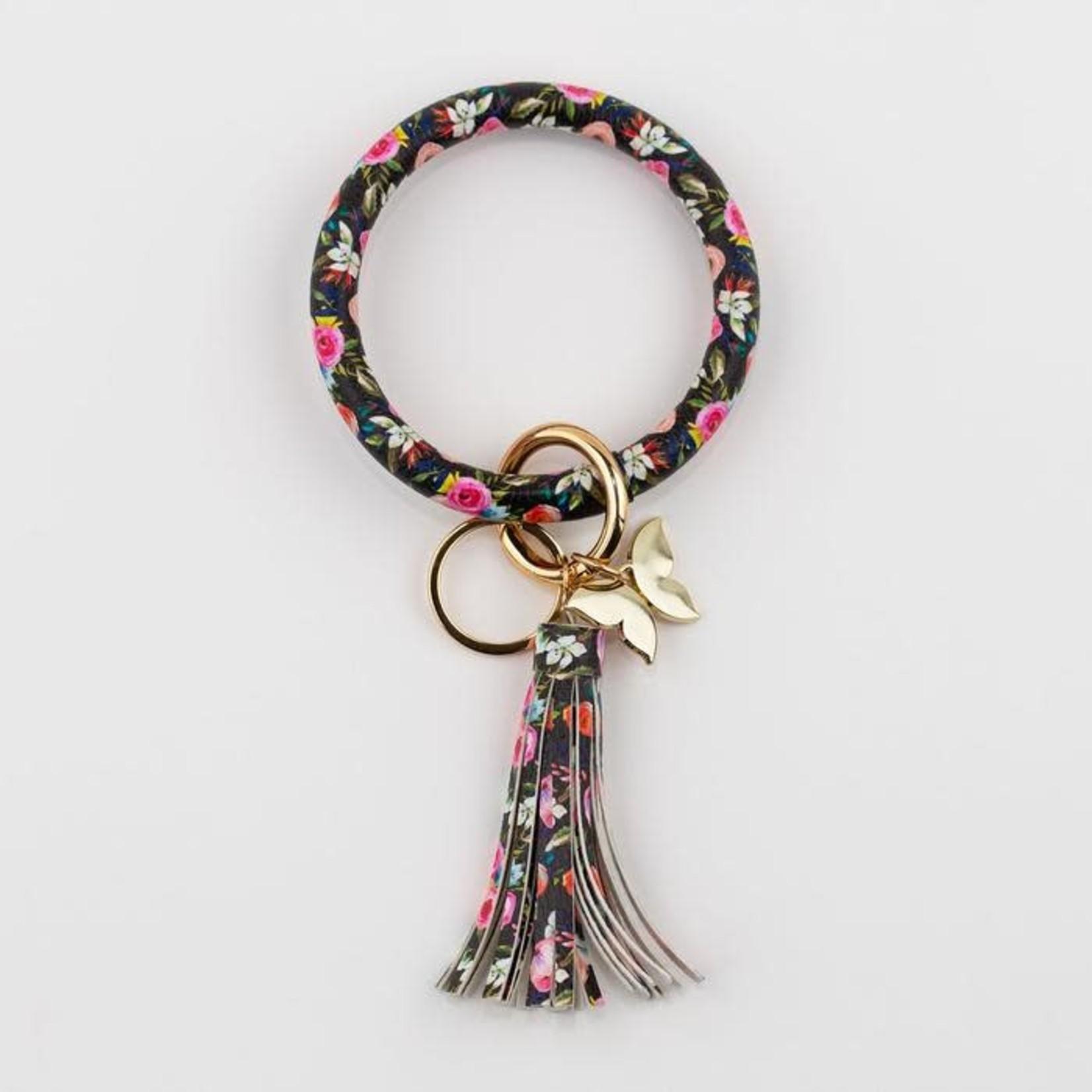 Bangle Key Ring - Floral on Black