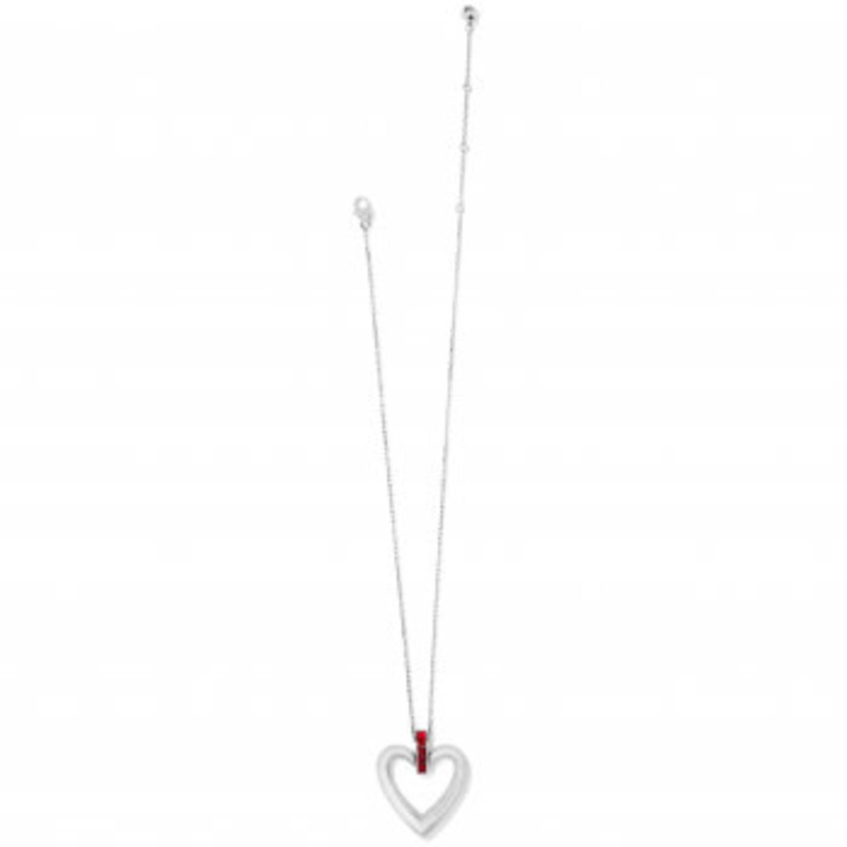 Brighton Spectrum Open Heart Necklace Silver-Red OS