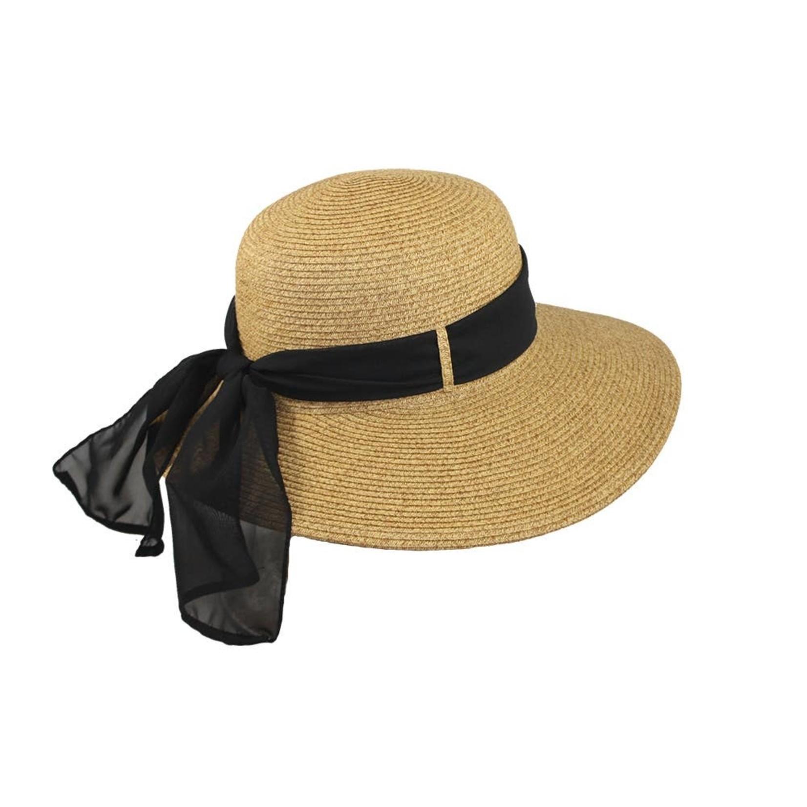 "Jeanne Simmons Tan Tweed 4"" Brim Paper Braid Hat w/Black Ribbon"