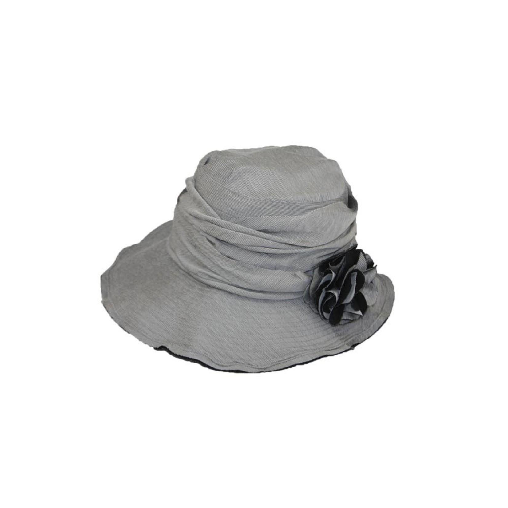 Jeanne Simmons Silver/Black PinStripe Hat w/ Slanted Brim and Pleated Flower