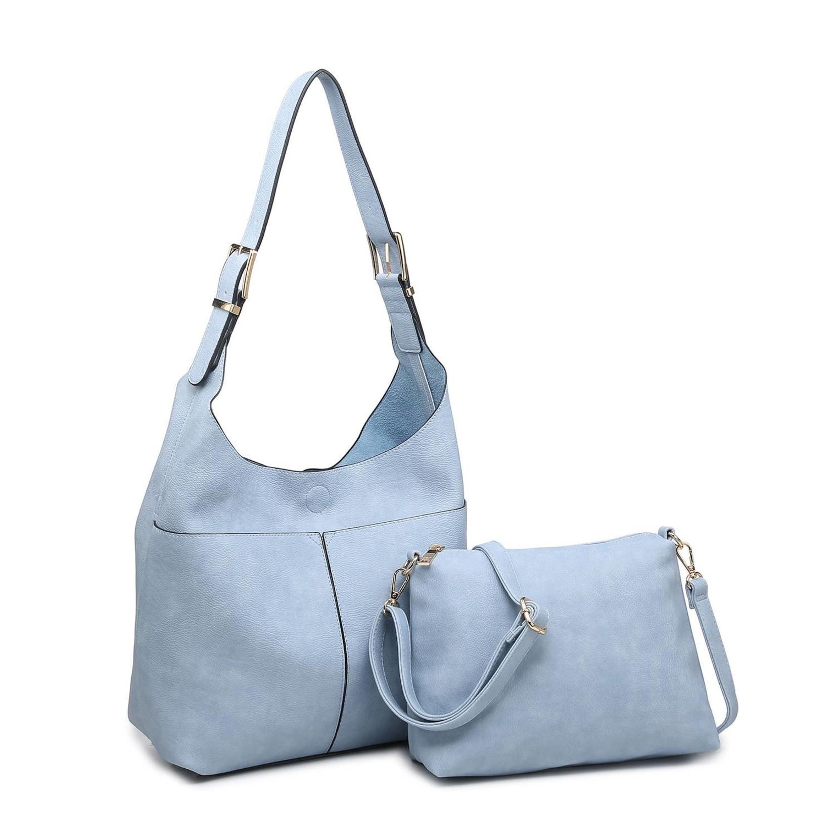 Ida Slouchy Hobo Bag w/Adjustable Strap in Cerulean Blue
