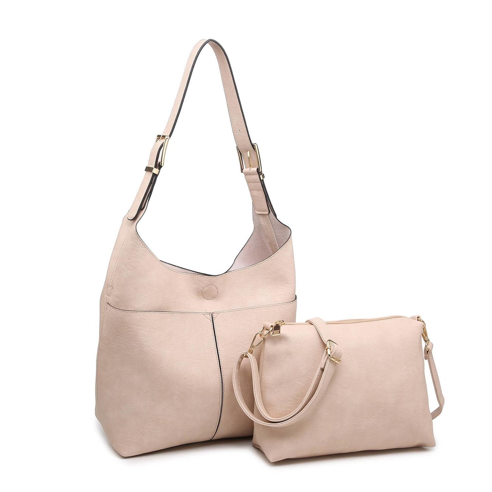 Ida Slouchy Hobo Bag w/Adjustable Strap in Blush