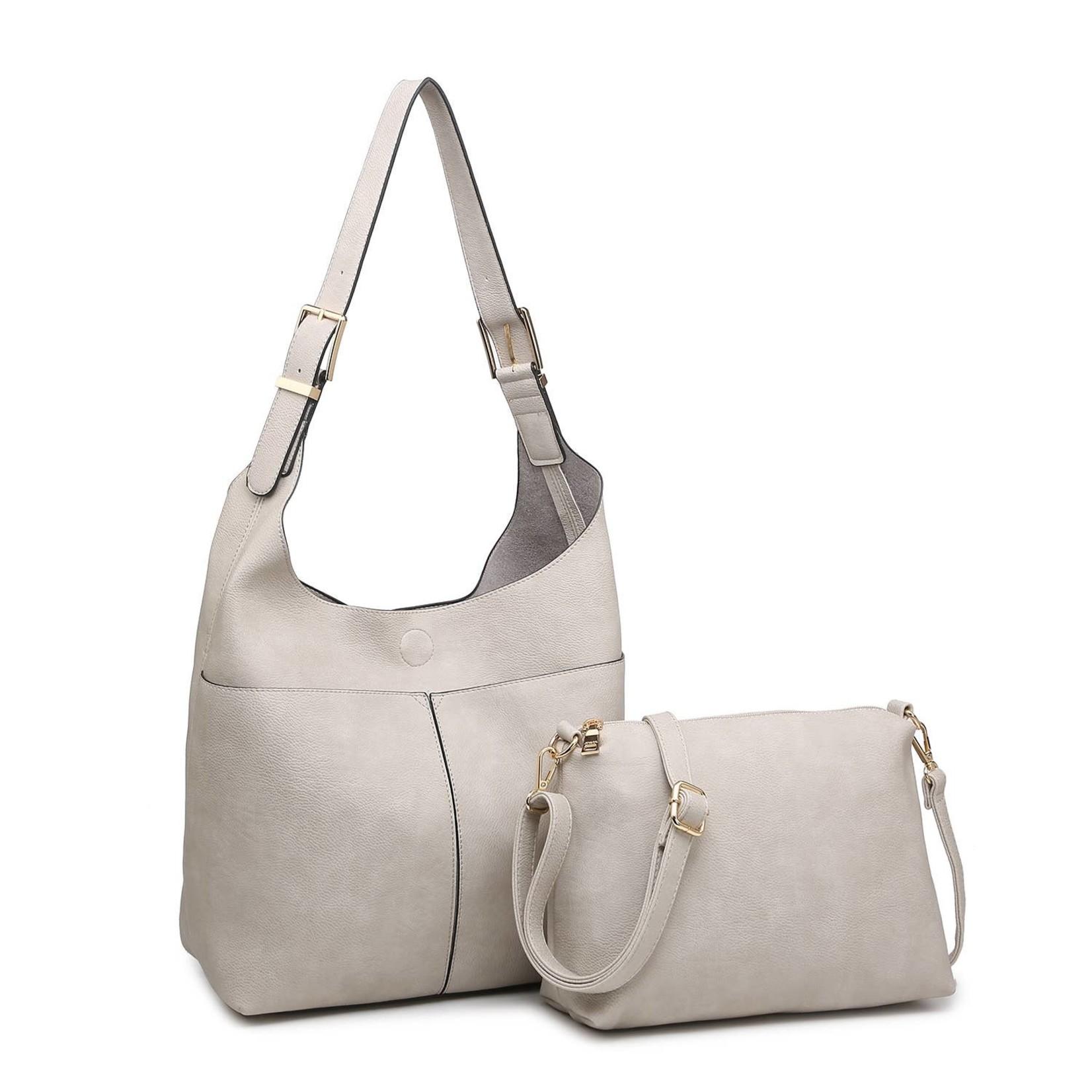 Ida Slouchy Hobo Bag w/Adjustable Strap in Lt Grey