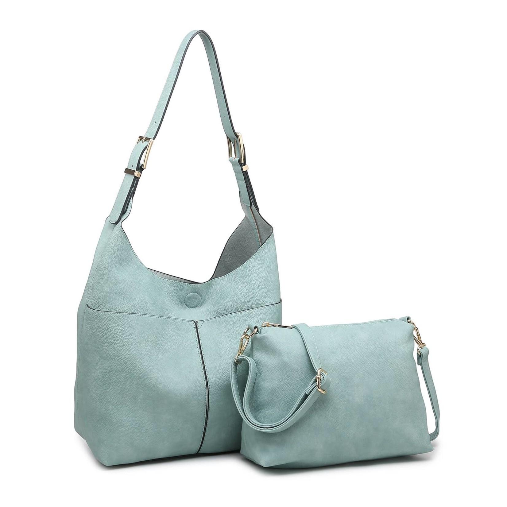 Ida Slouchy Hobo Bag w/Adjustable Strap in Lt Teal