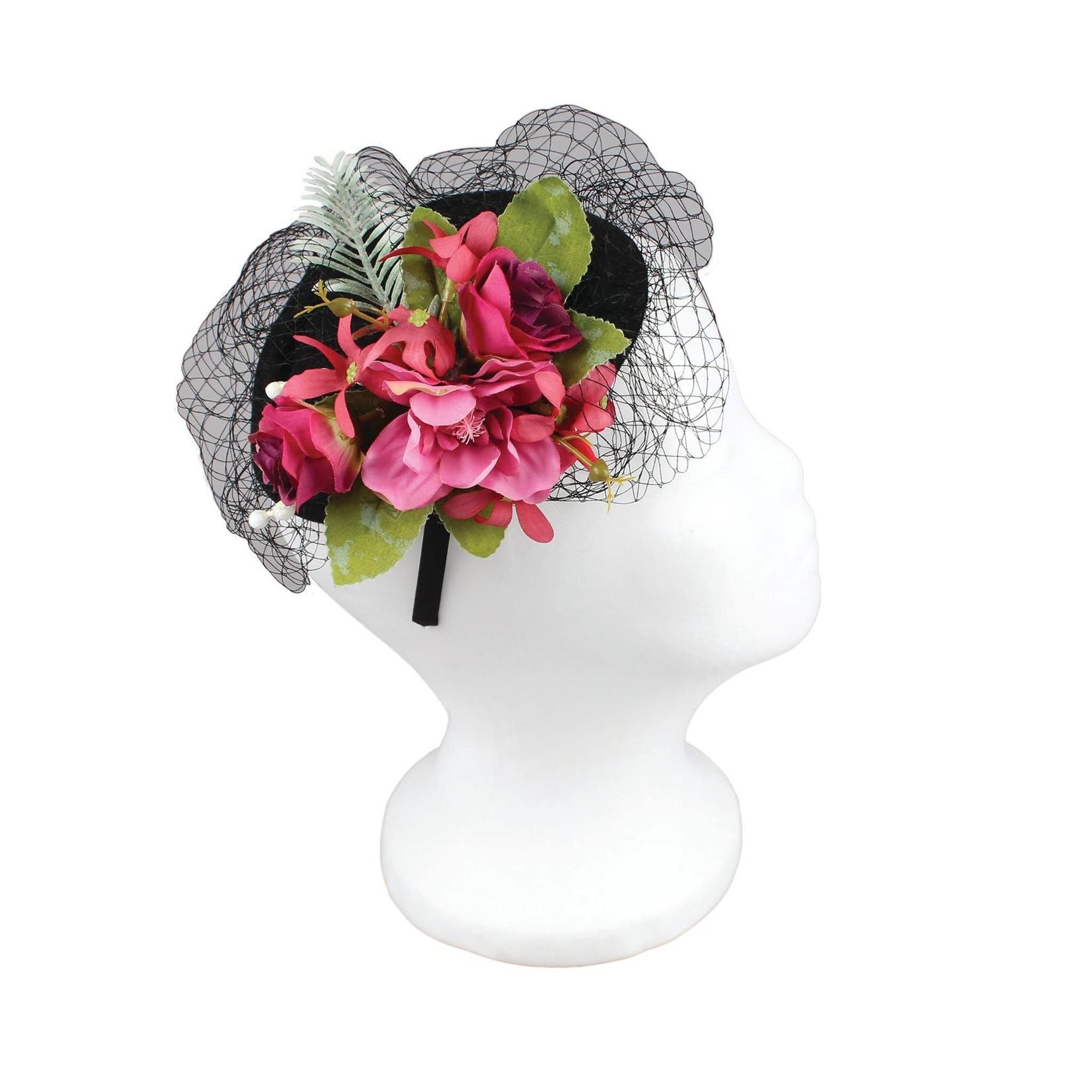 Jeanne Simmons Fascinator Headband w/Pink Flowers on Black Dish