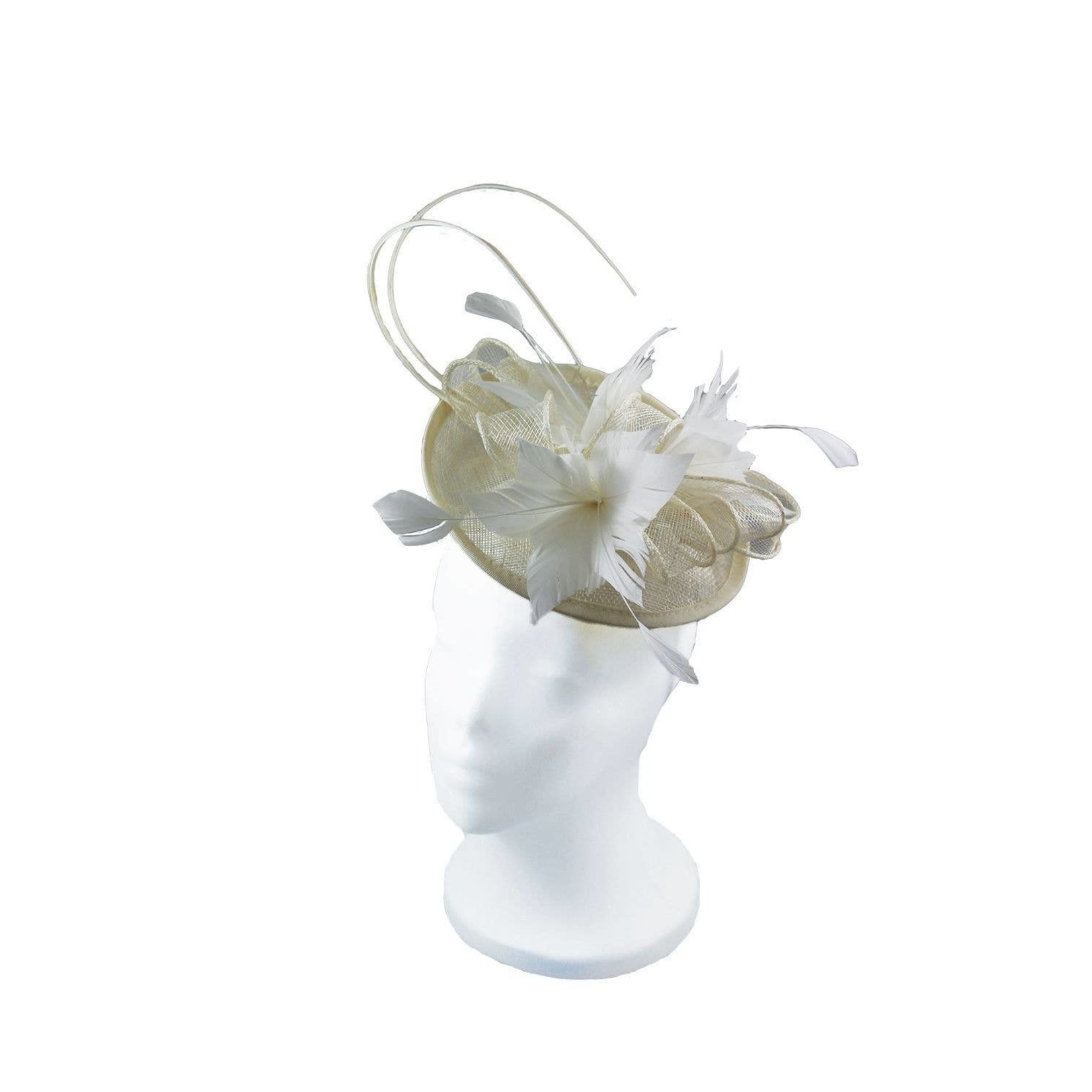 Jeanne Simmons Fascinator Headband of Ivory Feathers & Sinamay Disc
