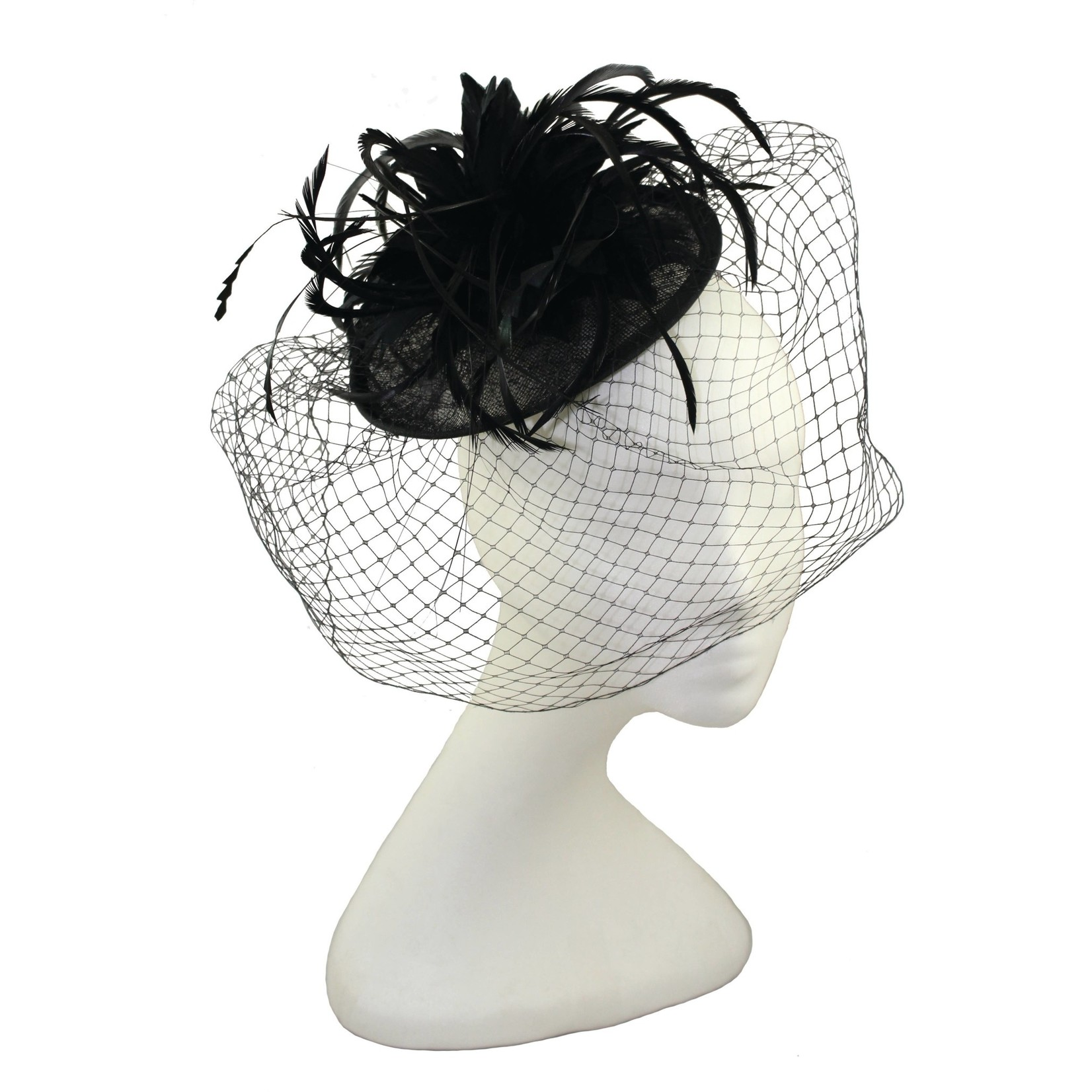Jeanne Simmons Fascinator Headband w/Black Feathers & Netting on Sinamay Disc