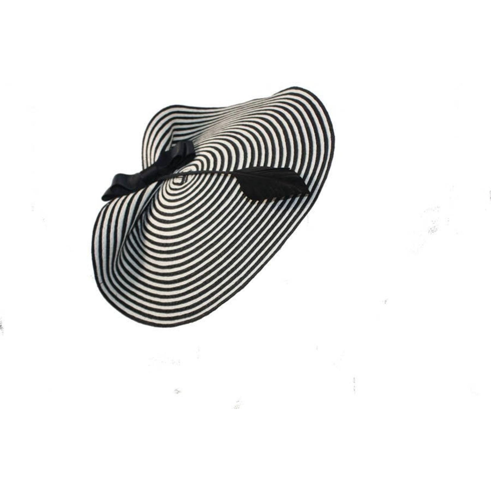 Jeanne Simmons Fascinator Headband of Blk & Wht Stripe Paperbraid Disc