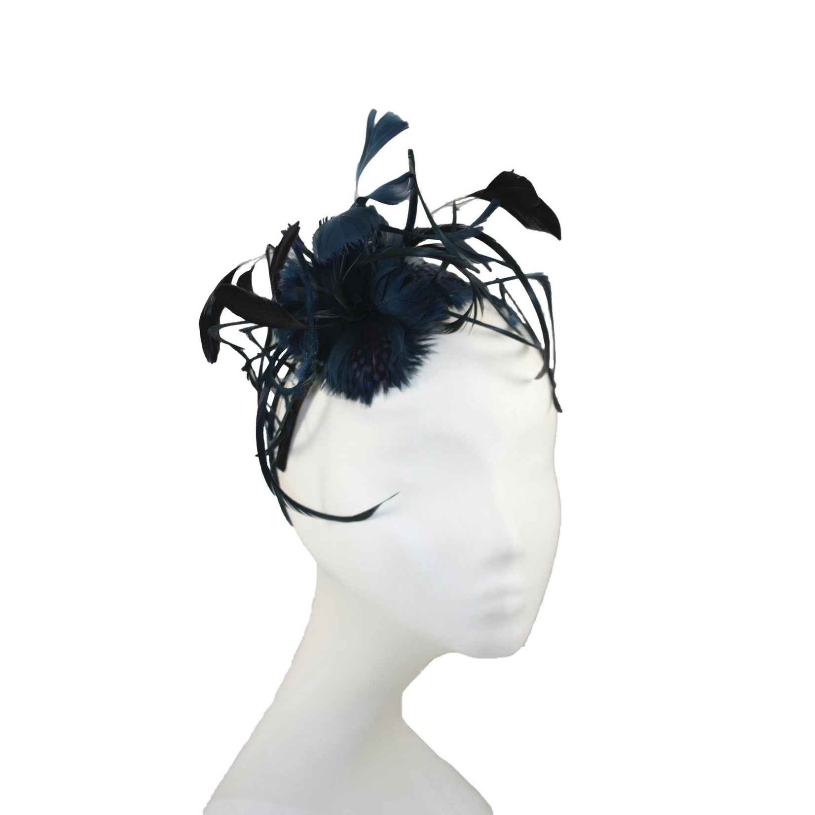Jeanne Simmons Fascinator Headband of Navy Feathers