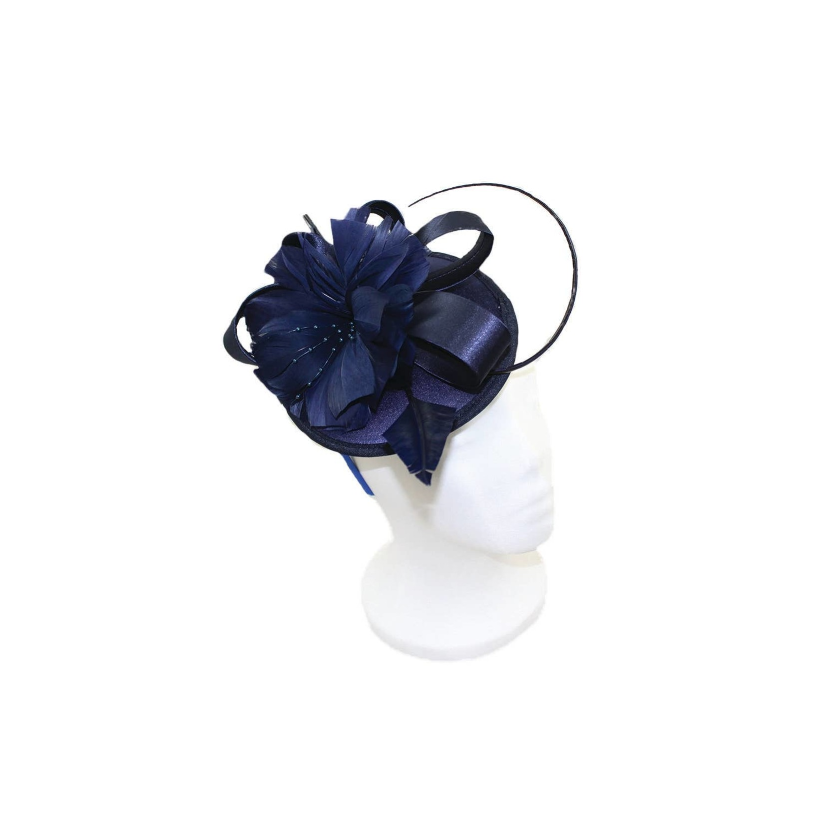Jeanne Simmons Fascinator Headband of Poly Satin Oval Bow in Navy