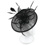 Jeanne Simmons Fascinator Headband W/Blk Feathers on Large Sinamay Blk Disc
