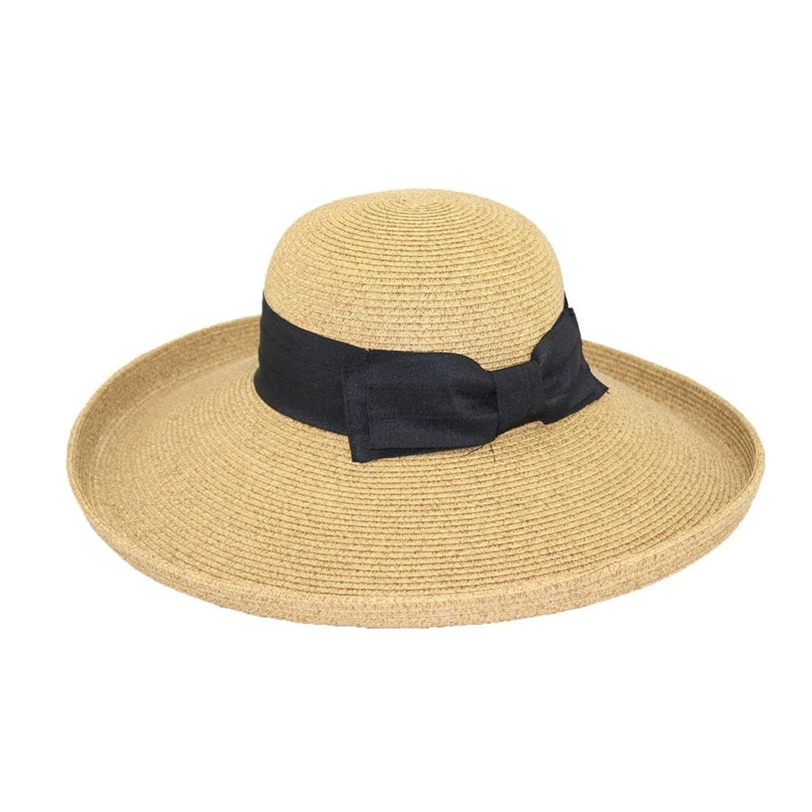 Jeanne Simmons Paper Braid Large Kettle Brim Toast Tweed Hat w/Blk Bow
