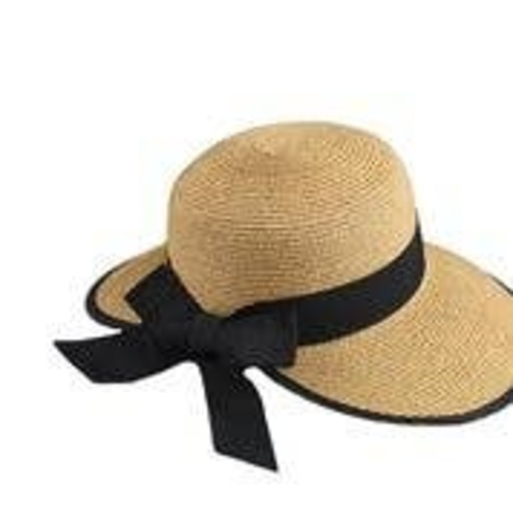 Jeanne Simmons Paper Braid Split Brim Tan Hat w/Blk Bow