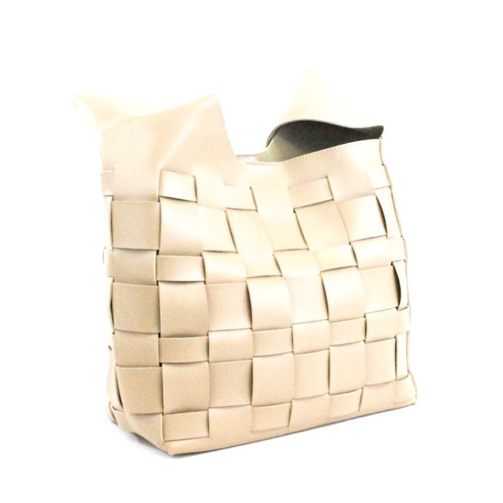 Faux Leather BasketWeave Hobo Bag in Khaki w/ Cosmetic Pouch