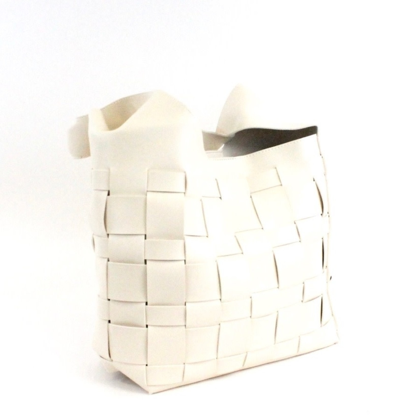 Faux Leather BasketWeave Hobo Bag in Off-white w/ Cosmetic Pouch