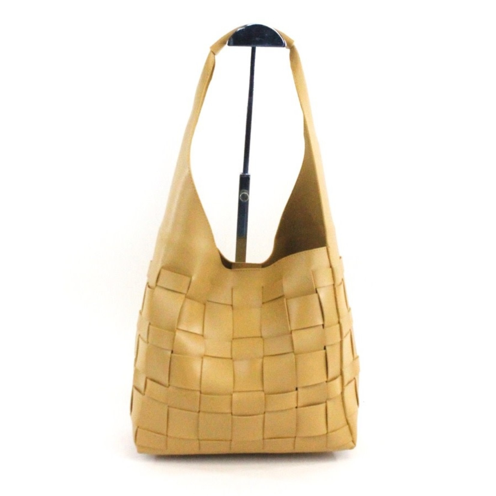Faux Leather BasketWeave Hobo Bag in Yellow w/ Cosmetic Pouch
