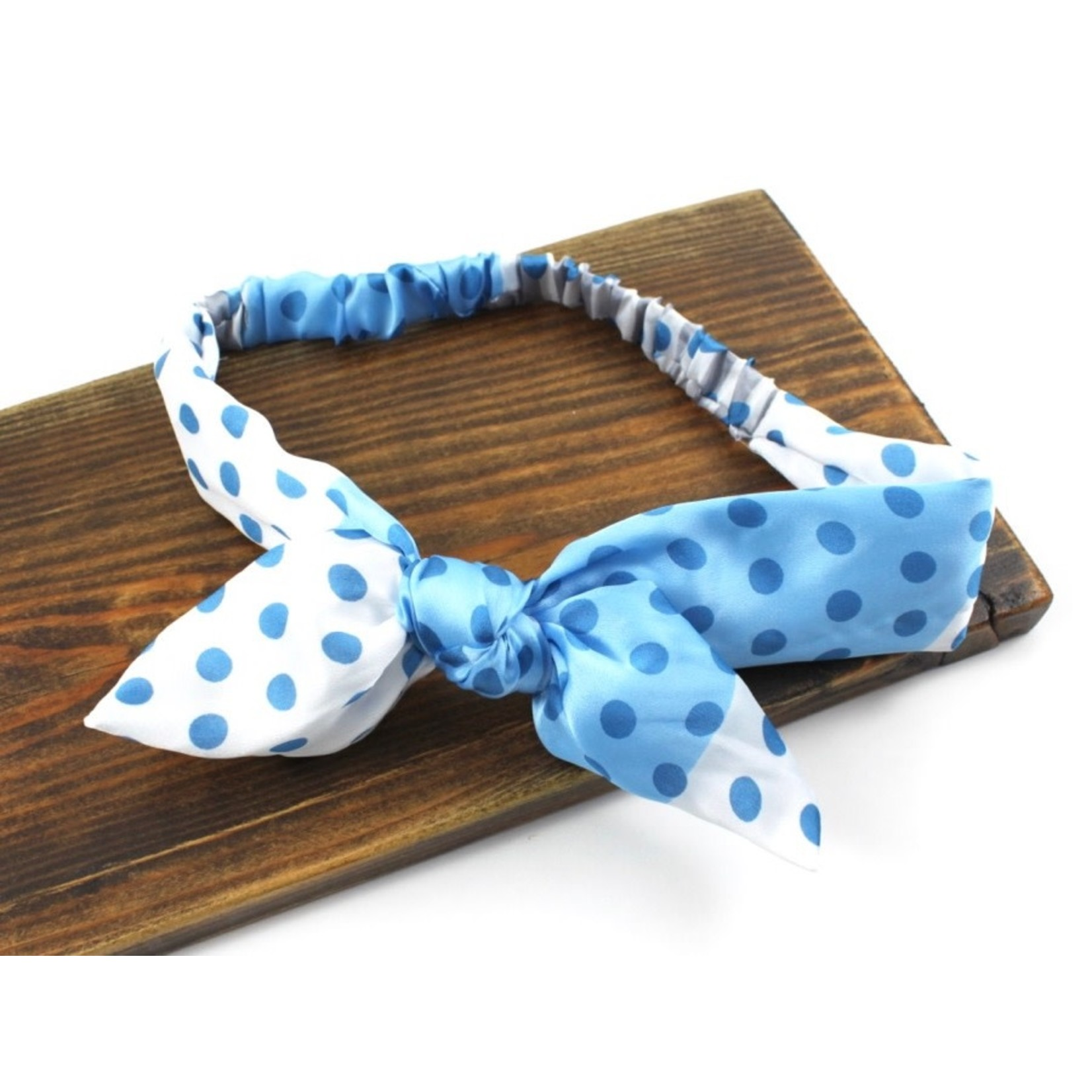 Pullover Headband in Blue w/ Polka Dots