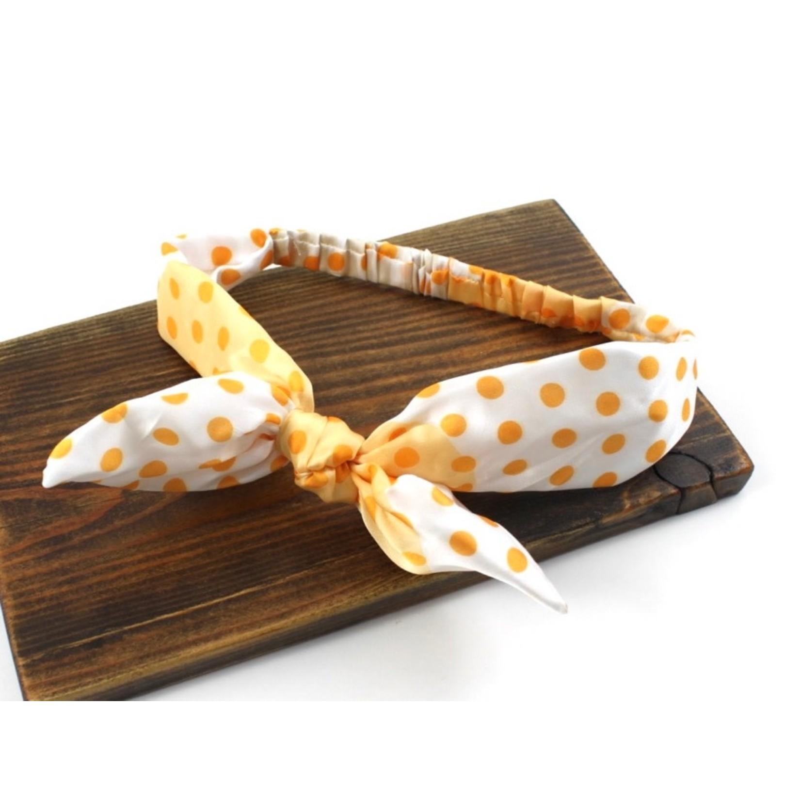 Pullover Headband in Orange w/ Polka Dots