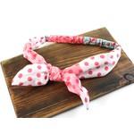 Pullover Headband in Pink w/ Polka Dots