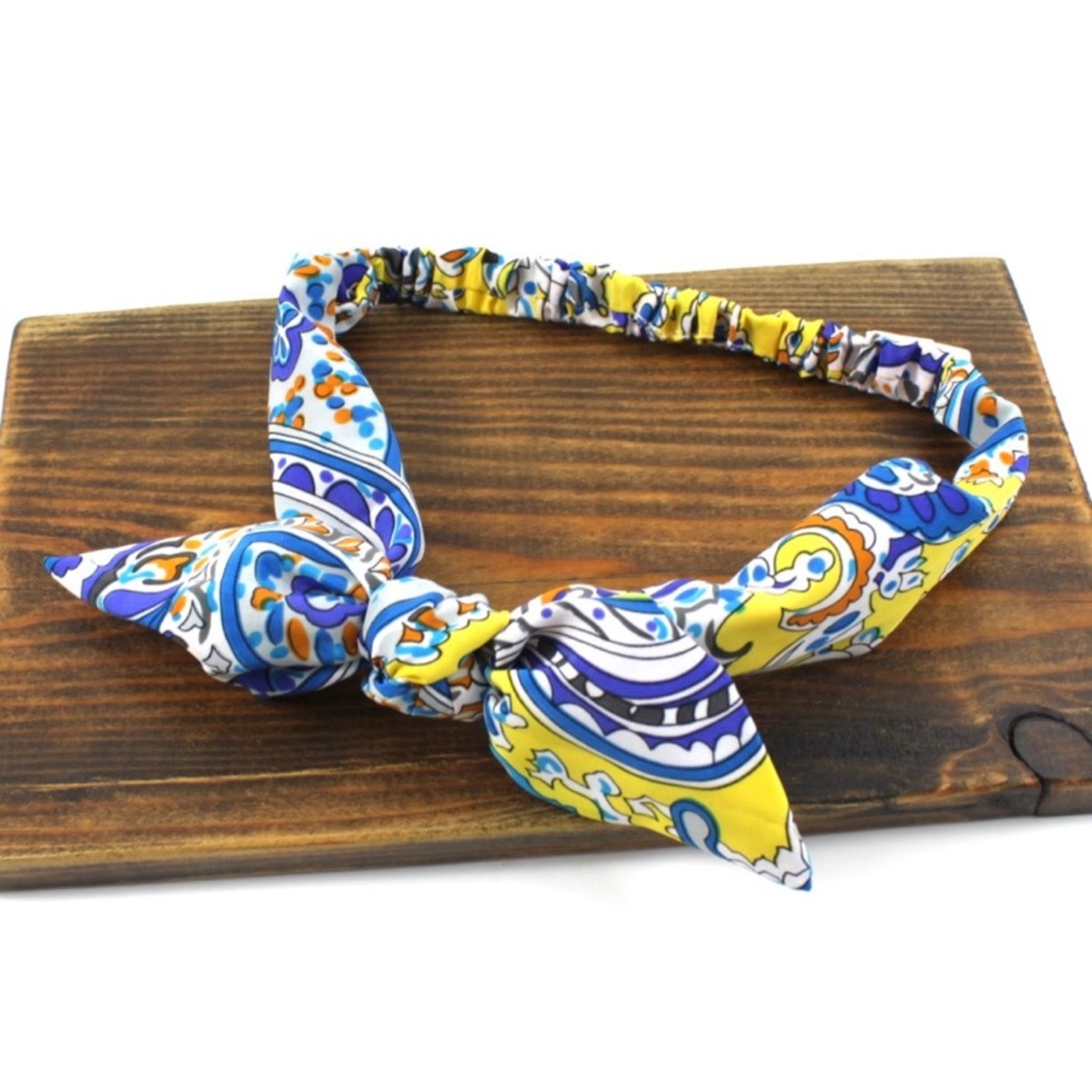 Pullover Headband in Yellow/Blue w/ Top Knot