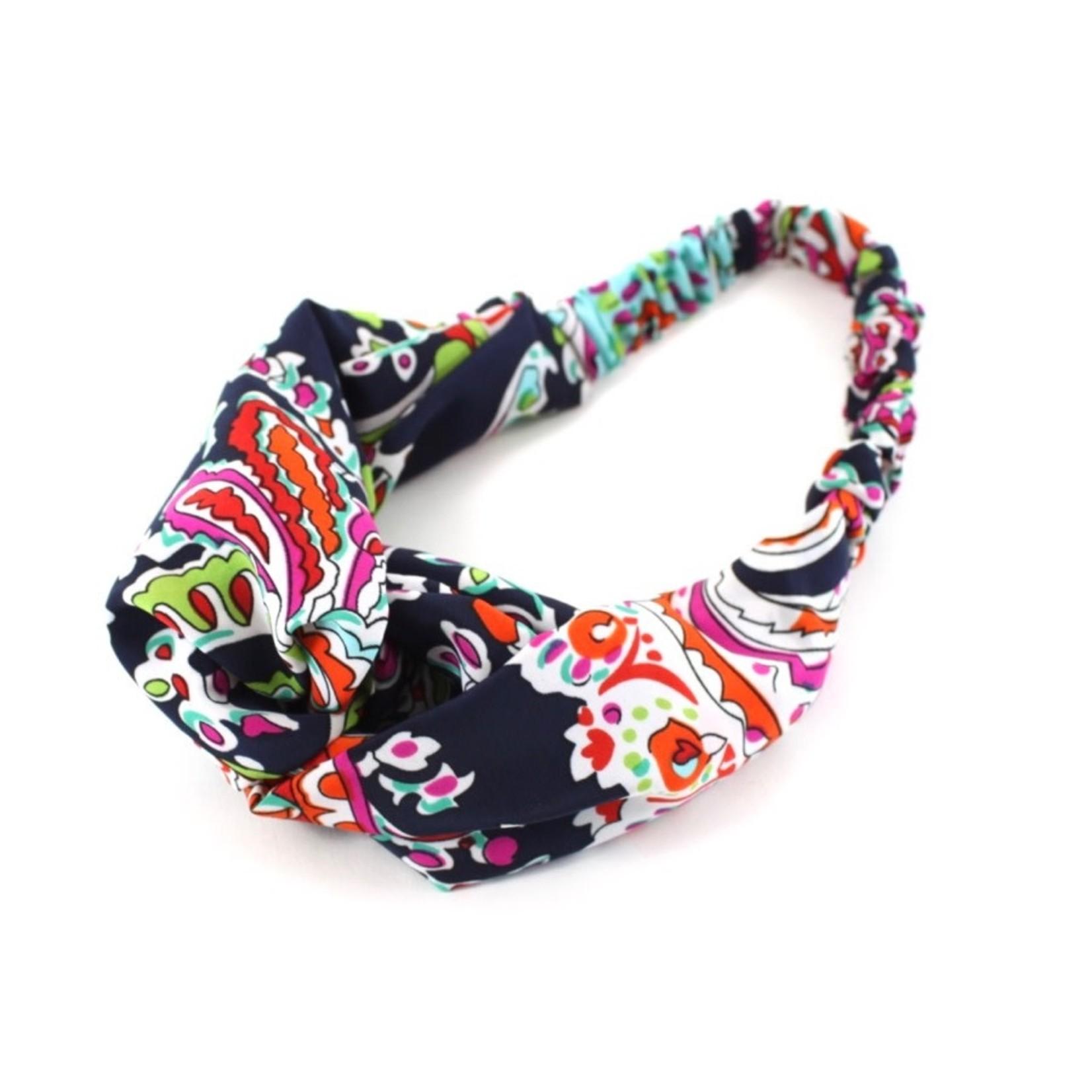 Navy/Orange Pullover Headband w/ Loop
