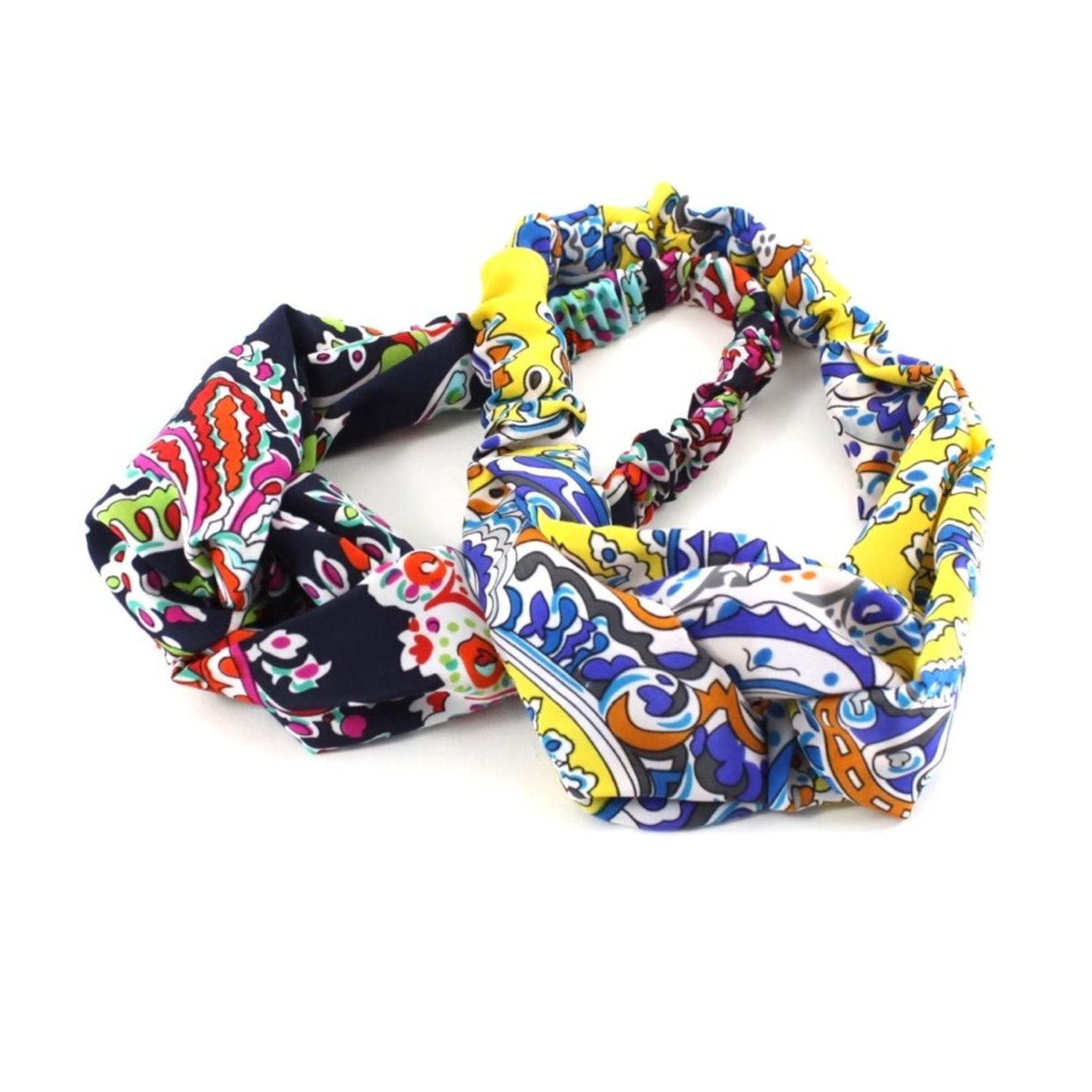 Yellow/Blue Pullover Headband w/ Loop