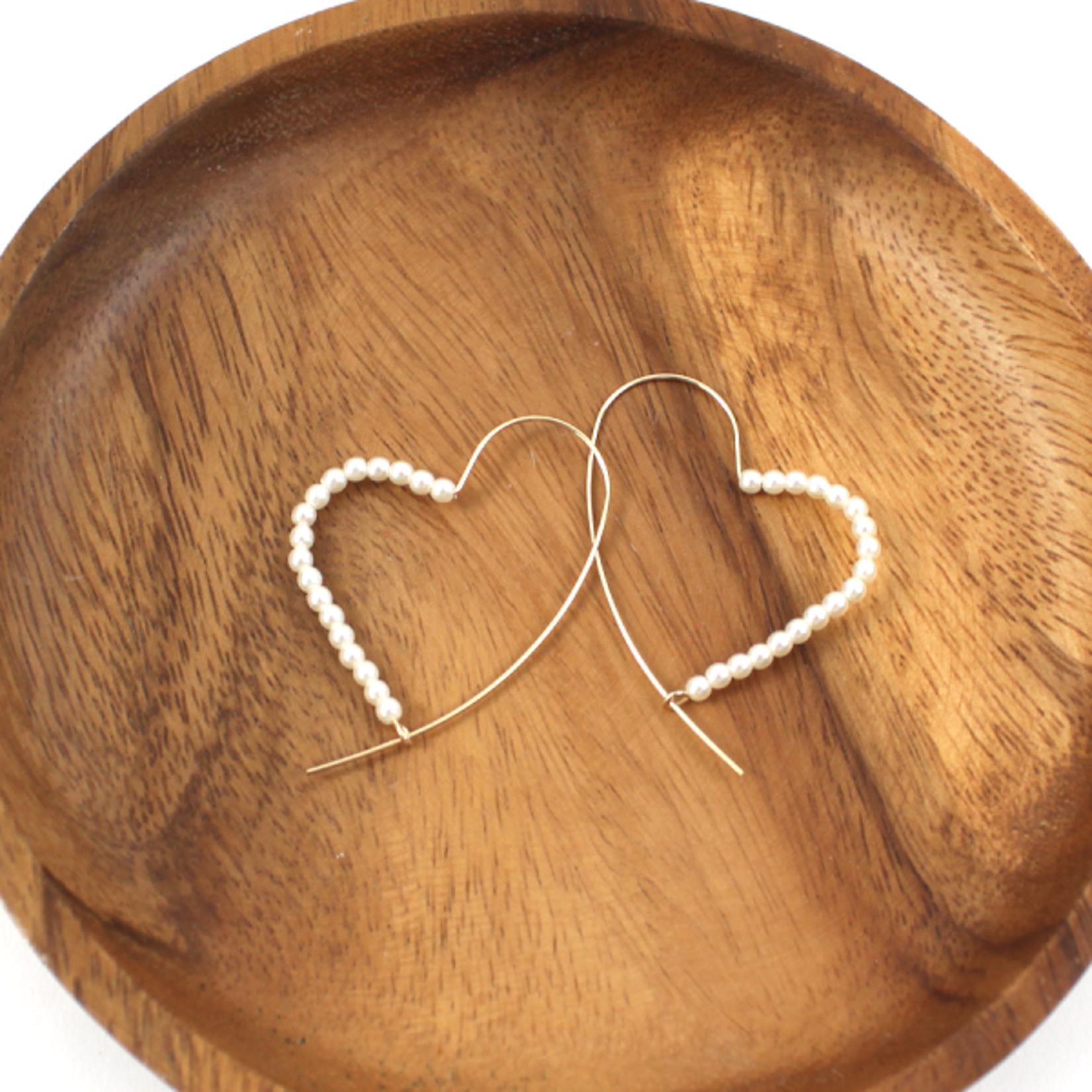 Gold Heart Shape Wire Earrings w/ Faux Pearls