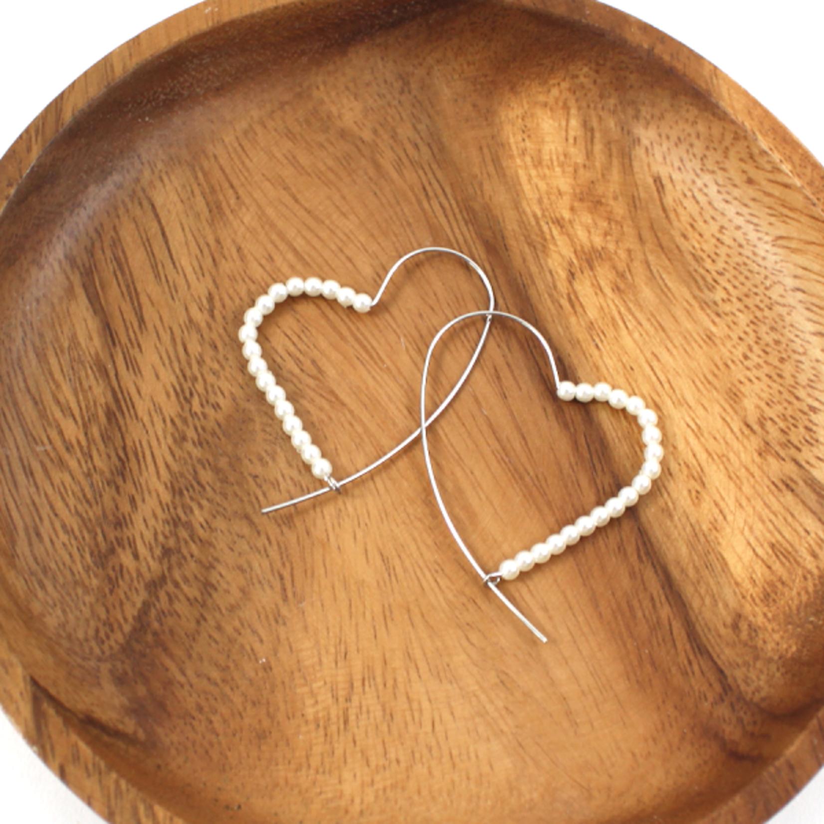 Silver Heart Shape Wire Earrings w/ Faux Pearls