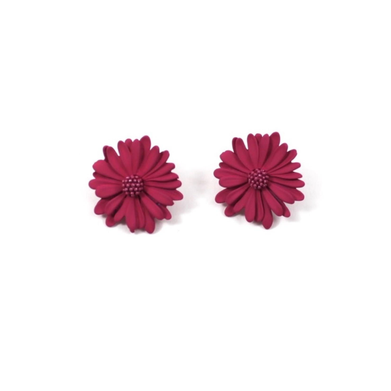 Hot Pink Daisy Stud Earrings