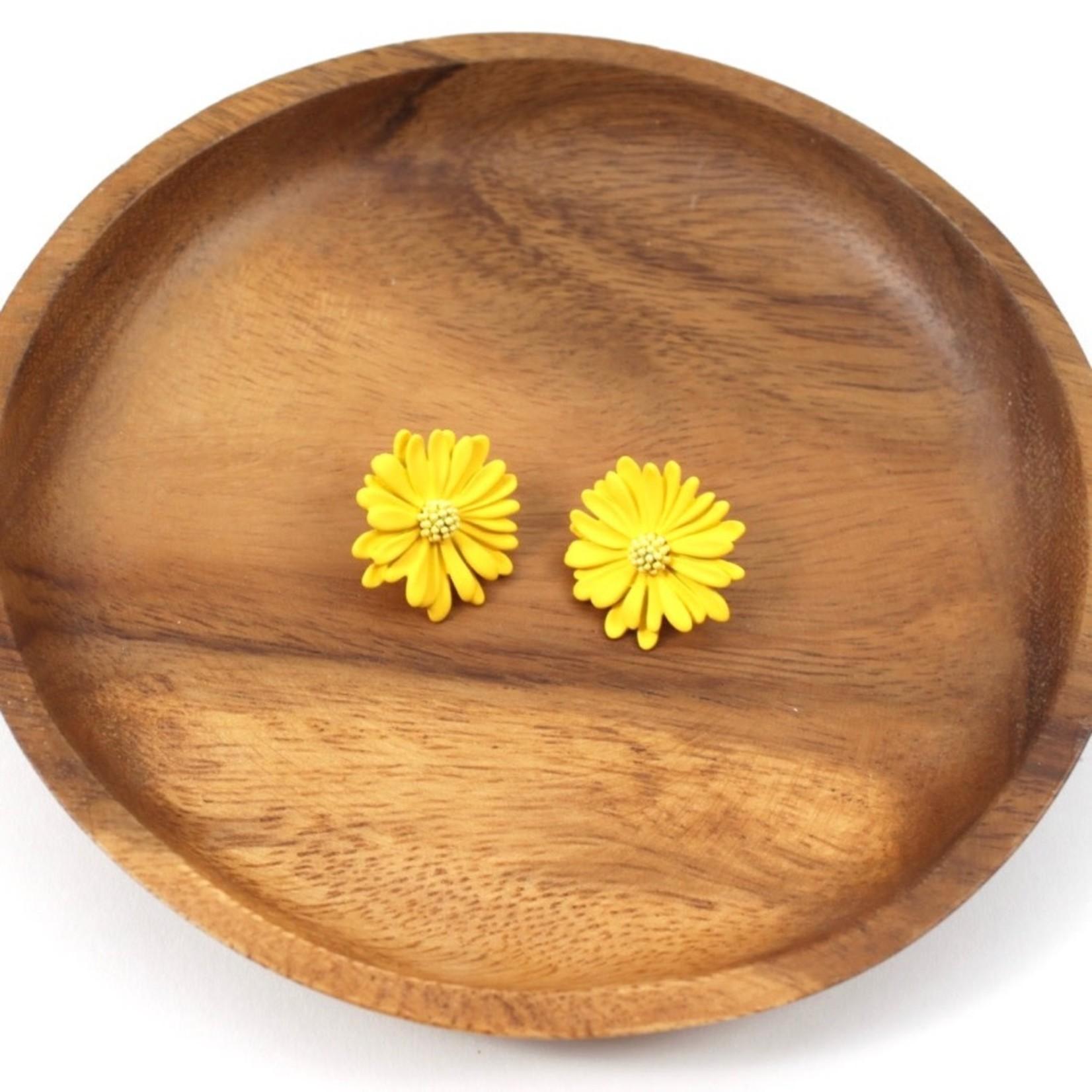 Yellow Daisy Stud Earrings
