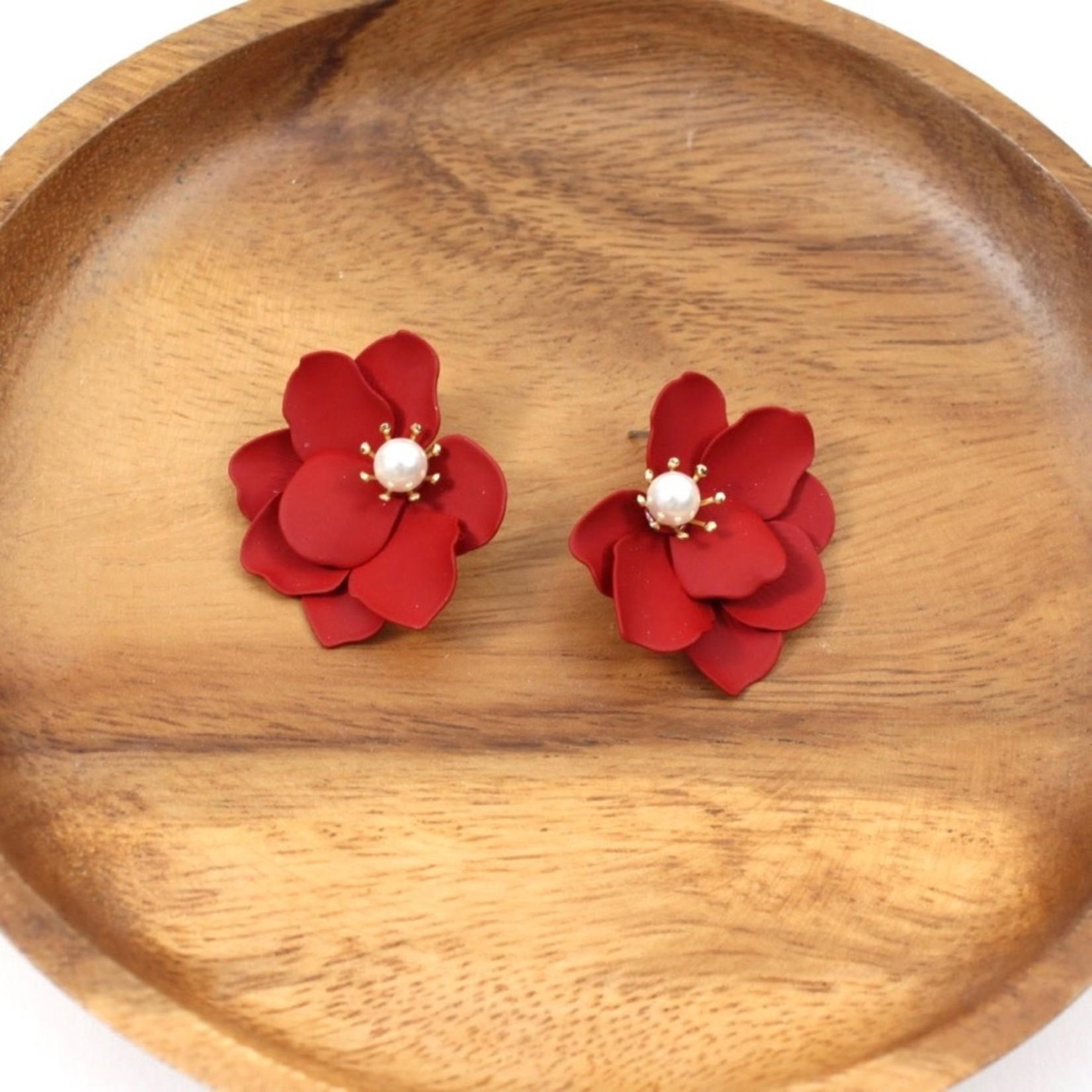 Red Flower Earrings w/ Faux Pearl Center