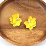 Yellow Flower Earrings w/ Faux Pearl Center