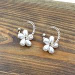 Rhinestone Hoop Earrings Pearl Petal Flower