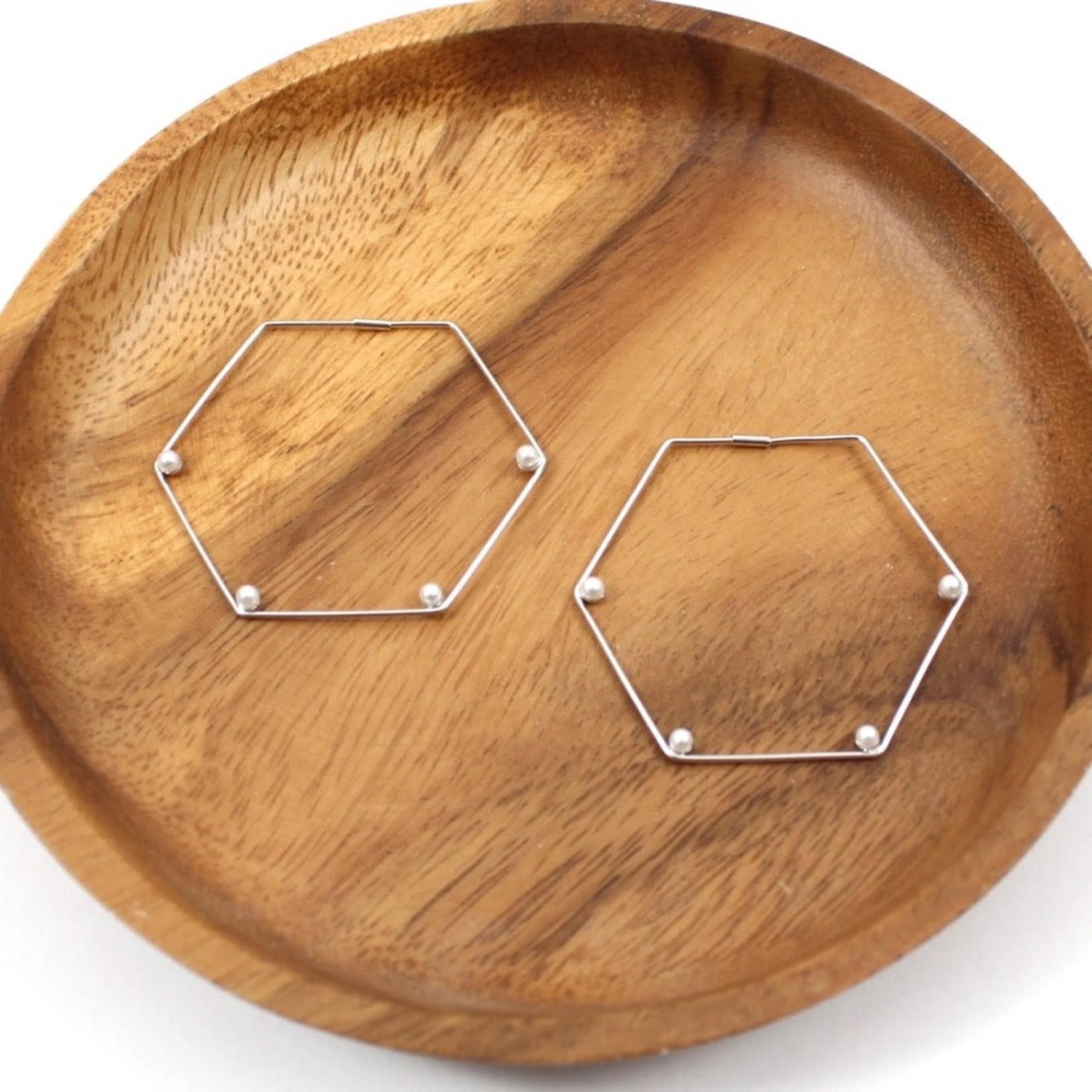 Silver Wire Hexagon Earrings w/ Pearl Stations