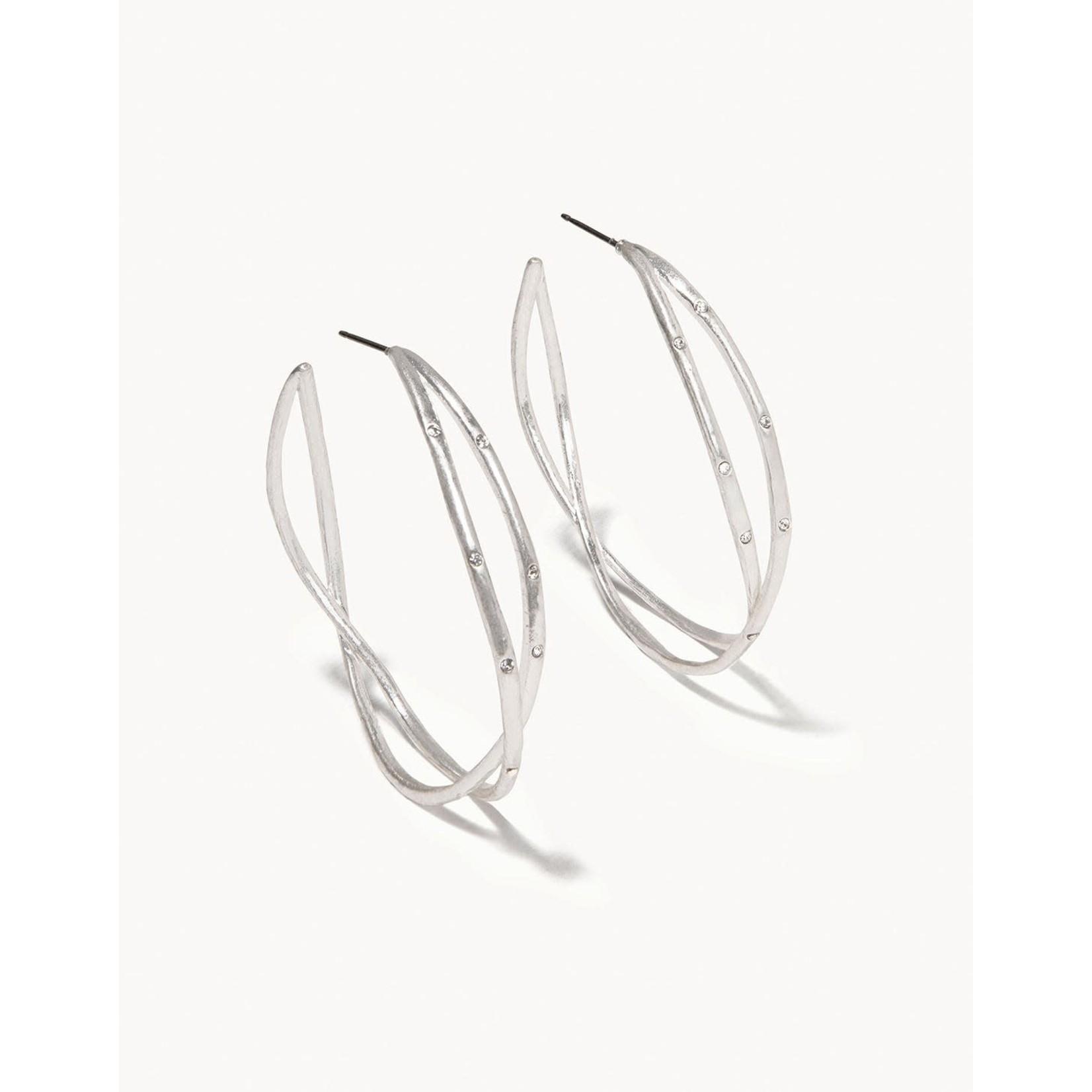 Spartina Sprinkles Hoop Earrings Crystal - Silver
