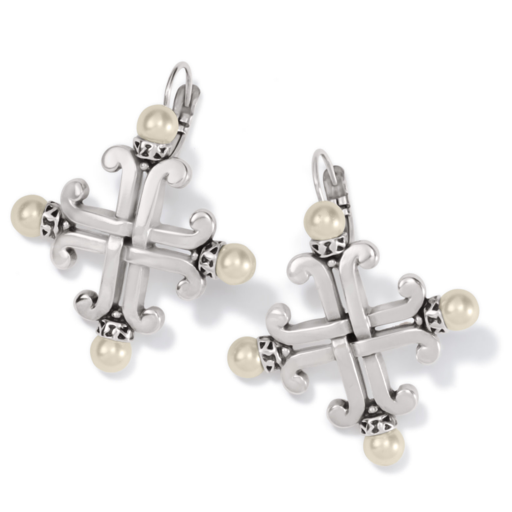 Brighton Taos Pearl Cross Leverback Earrings Silver-Pearl OS