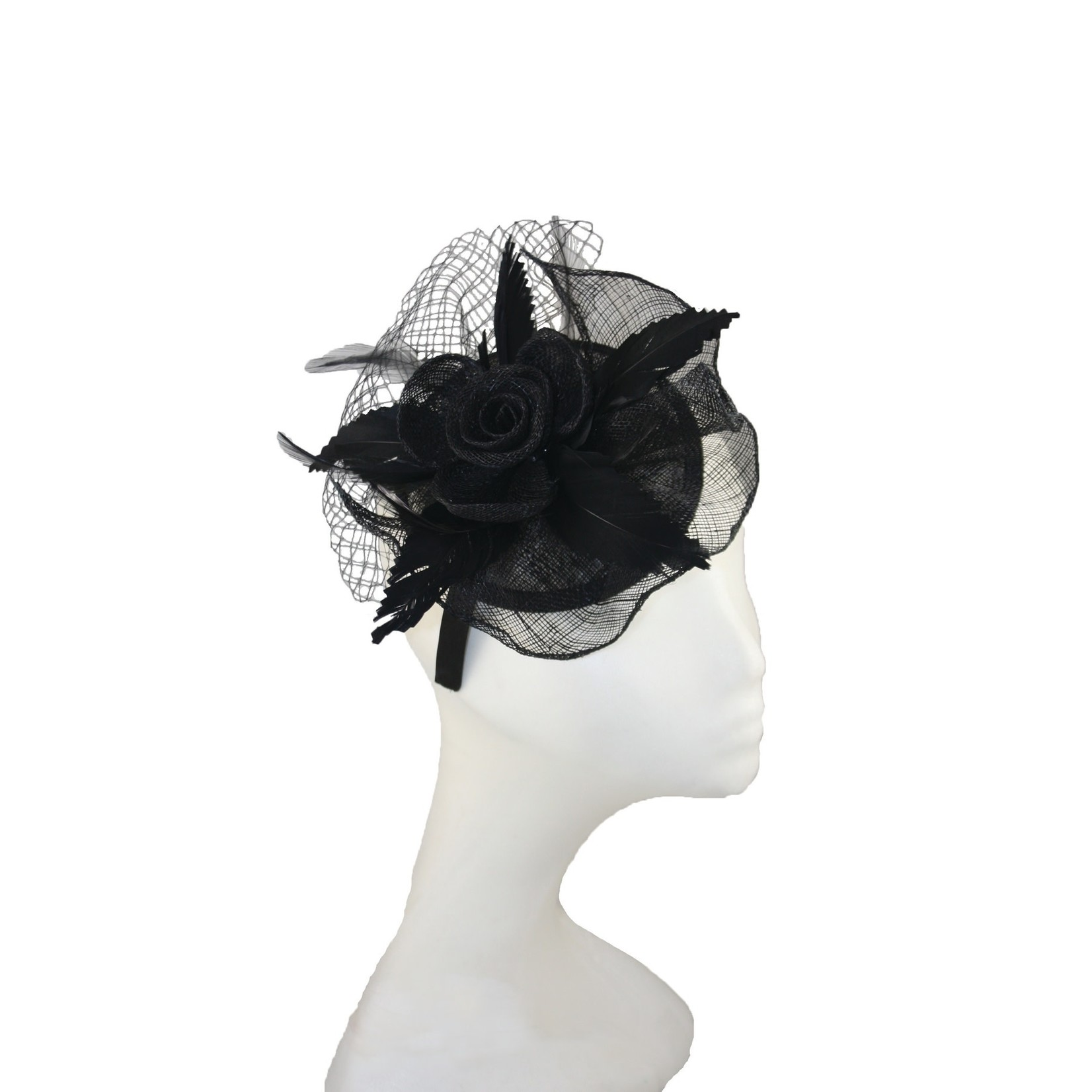 Jeanne Simmons Fascinator Headband W/Blk Netting and Flower on Small Sinamay Blk Disc