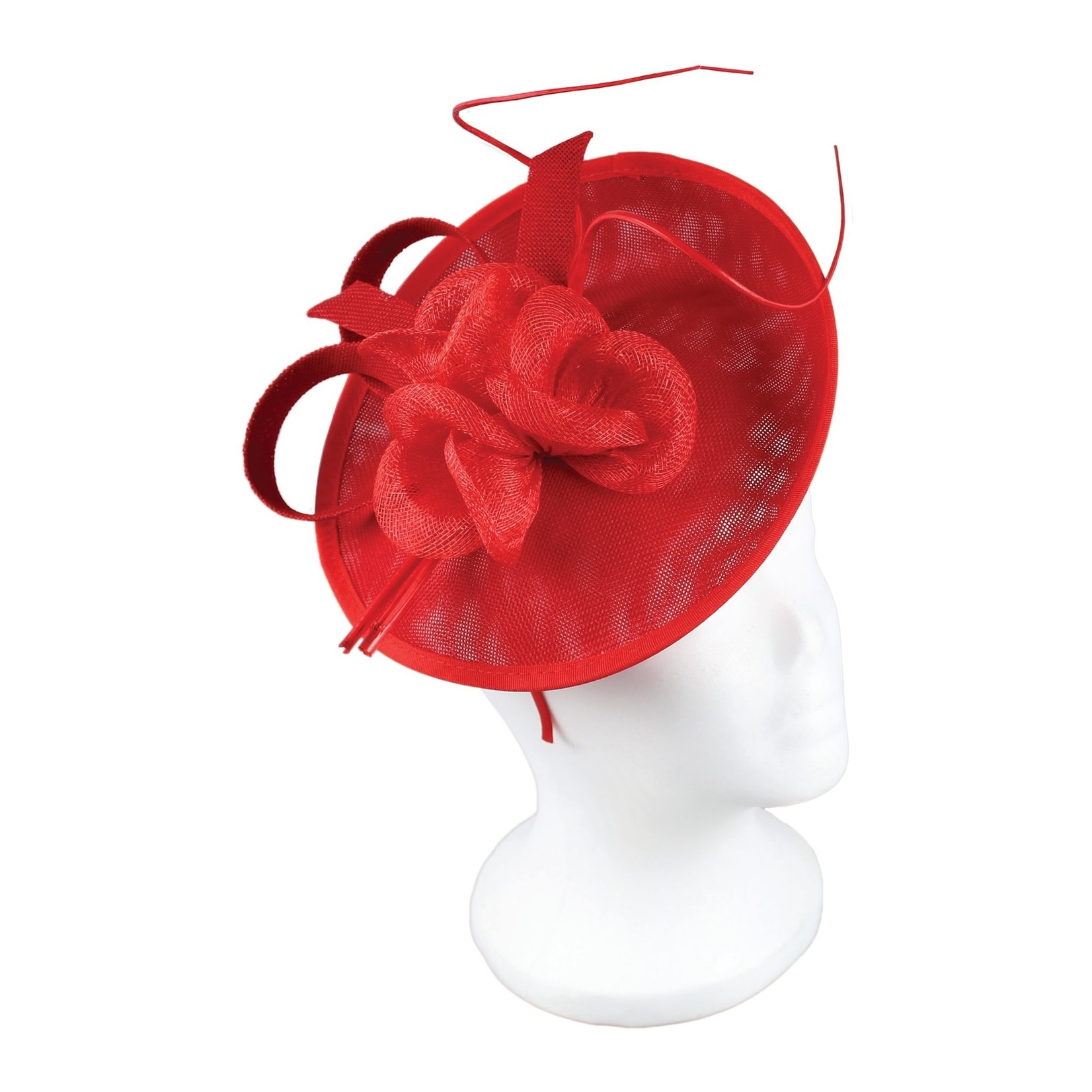 Jeanne Simmons Fascinator Headband w/ Paper Flowers on Sinamay Red Disc
