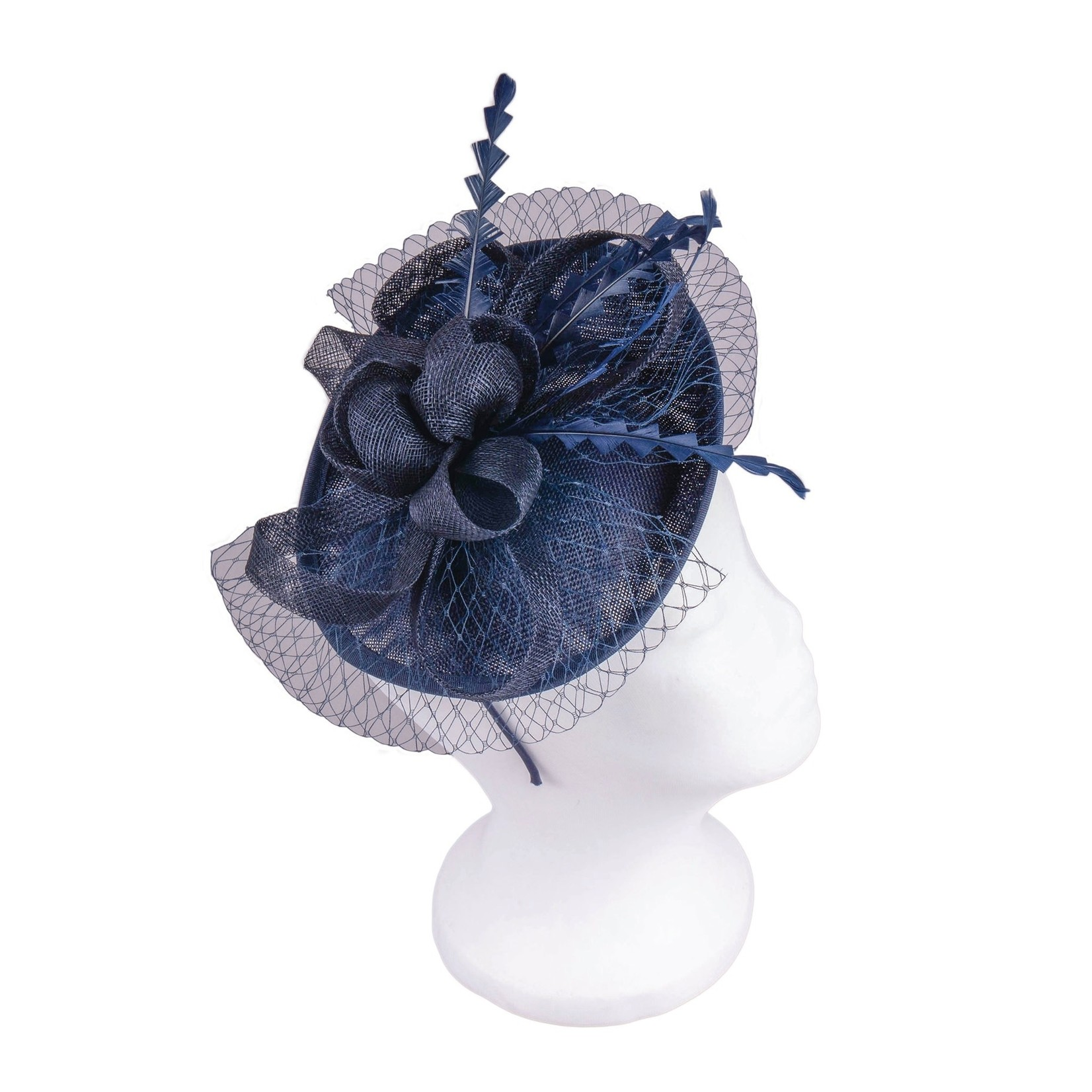 Jeanne Simmons Fascinator Headband w/Navy Feathers and Flower on Large Sinamay Disc