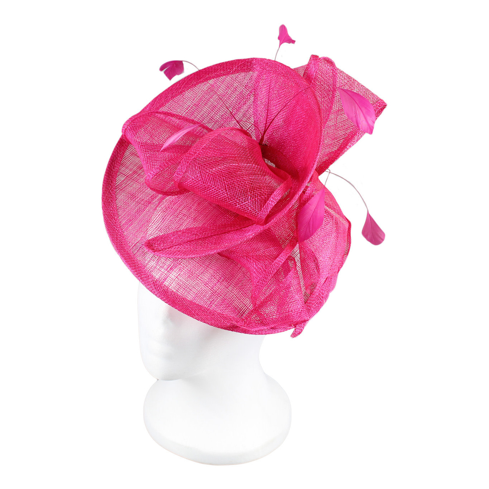Jeanne Simmons Fascinator Headband w/ Fuchsia Feathers and Bow on Partial Sinamay Disc