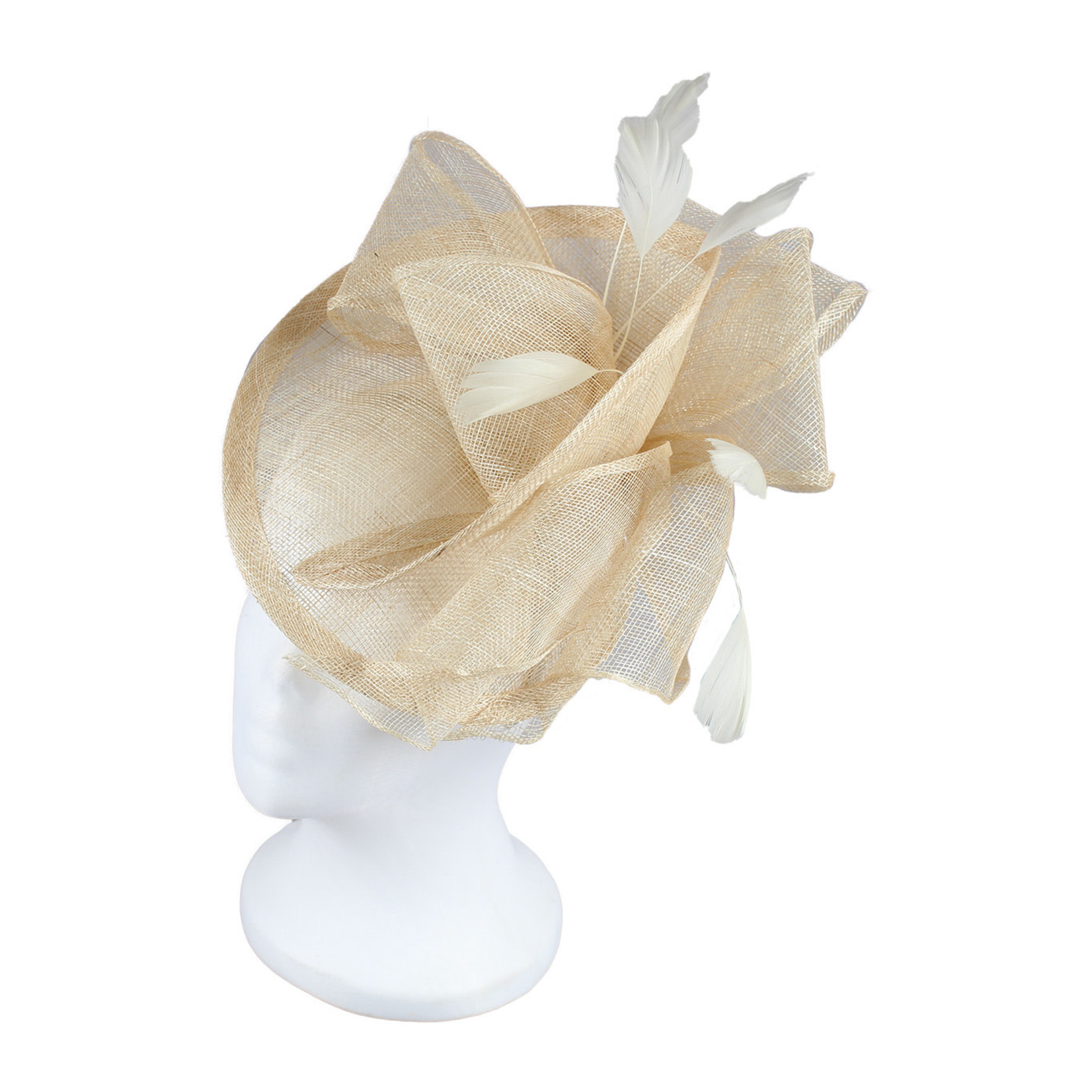 Jeanne Simmons Fascinator Headband w/ Natural Feathers and Bow on Partial Sinamay Disc