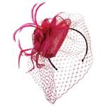 Jeanne Simmons Fascinator Headband w/ Fuchsia Netting, Feathers, Flower and Teardrop Sinamay