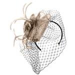 Jeanne Simmons Fascinator Headband w/ Taupe Netting, Feathers, Flower and Teardrop Sinamay