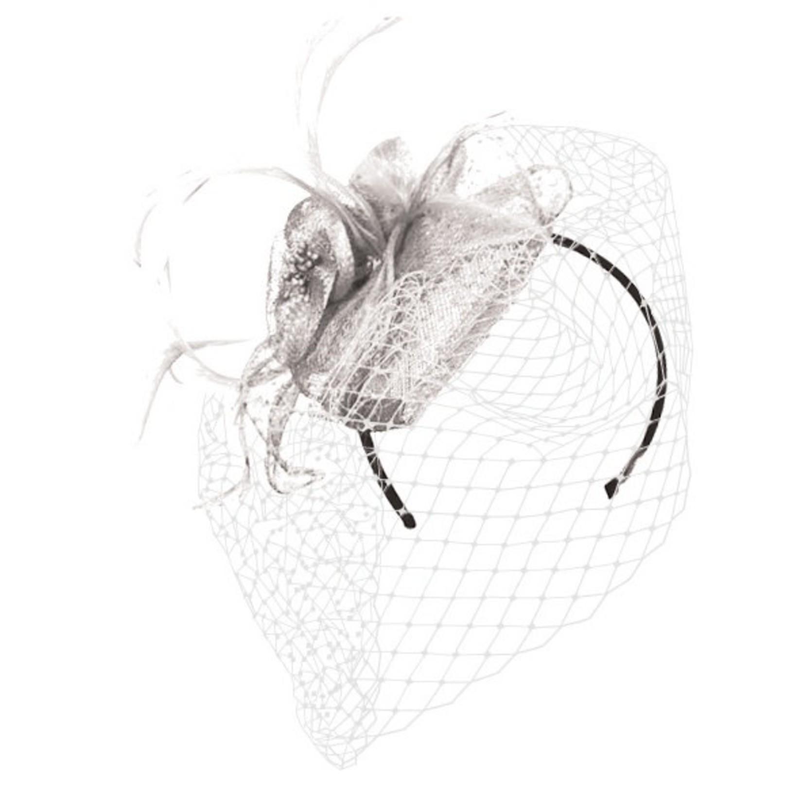 Jeanne Simmons Fascinator Headband w/ White Netting, Feathers, Flower and Teardrop Sinamay